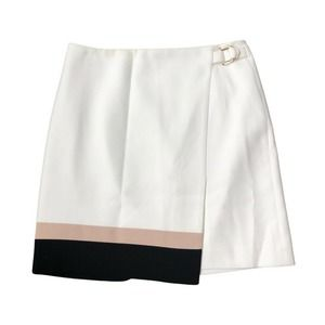 WHBM Skirt 8 Faux Wrap Lined Back Zip